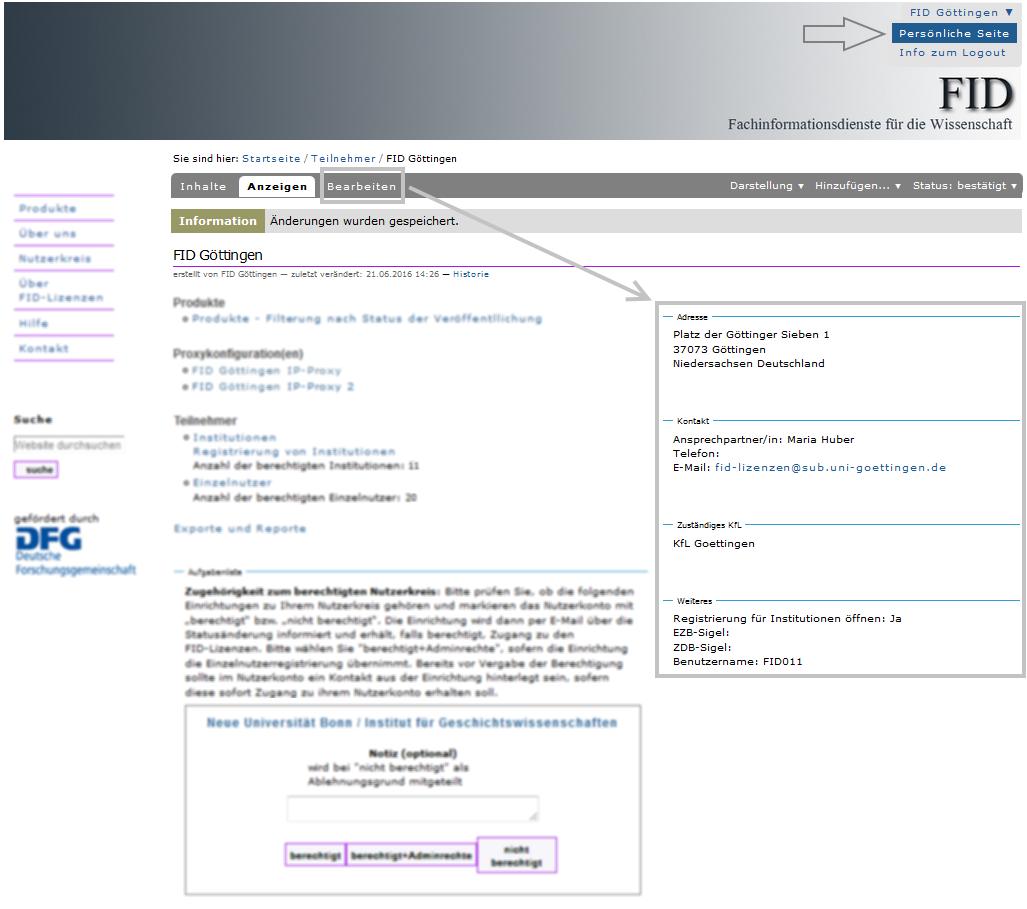 FID - persönliche Seite anzeigen und bearbeiten