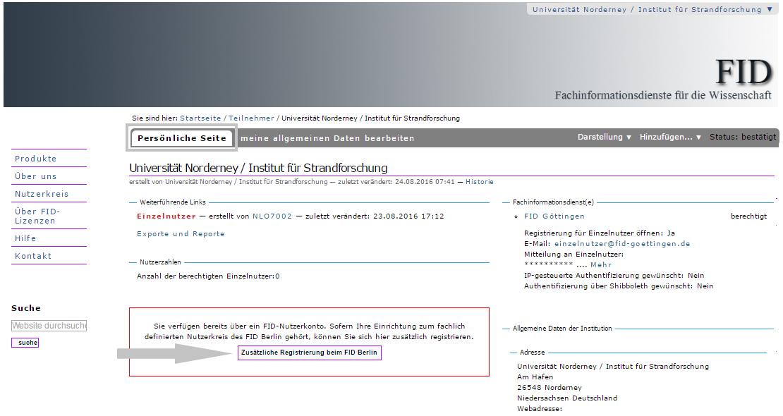 Institution - Registrierung bei weiterem FID 2